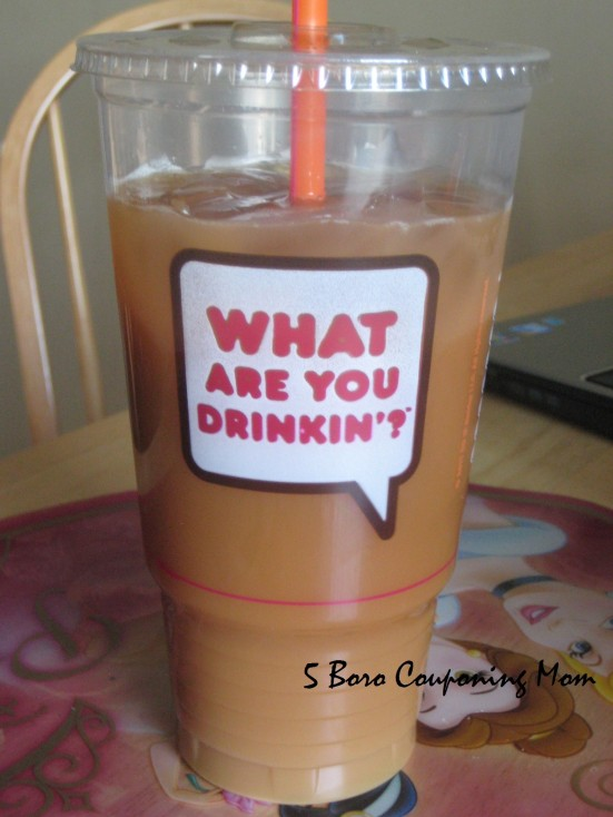 Iced Decaf with milk and a shot of caramel